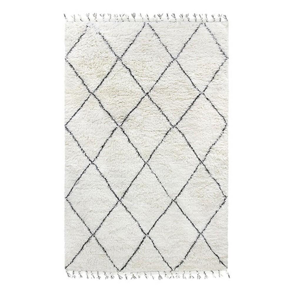 Woolen berber rug black & white HKliving