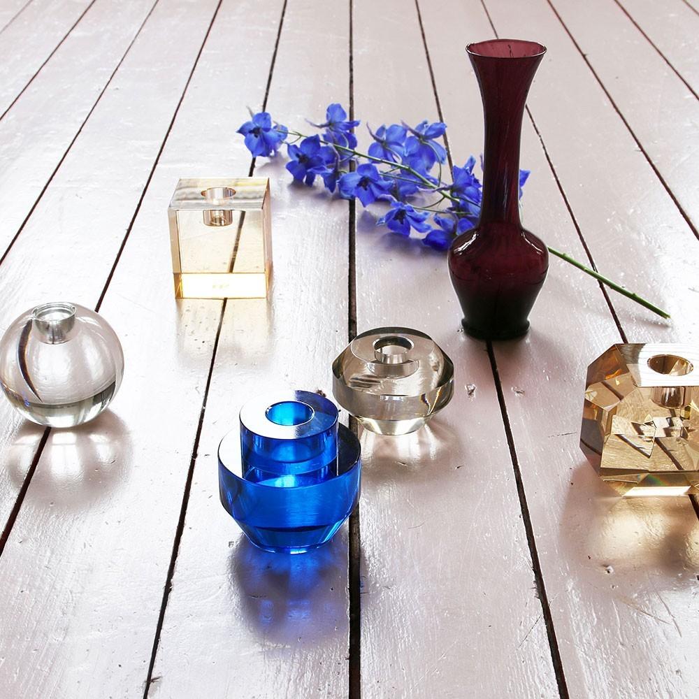 Bougeoir rond en cristal bleu cobalt HKliving
