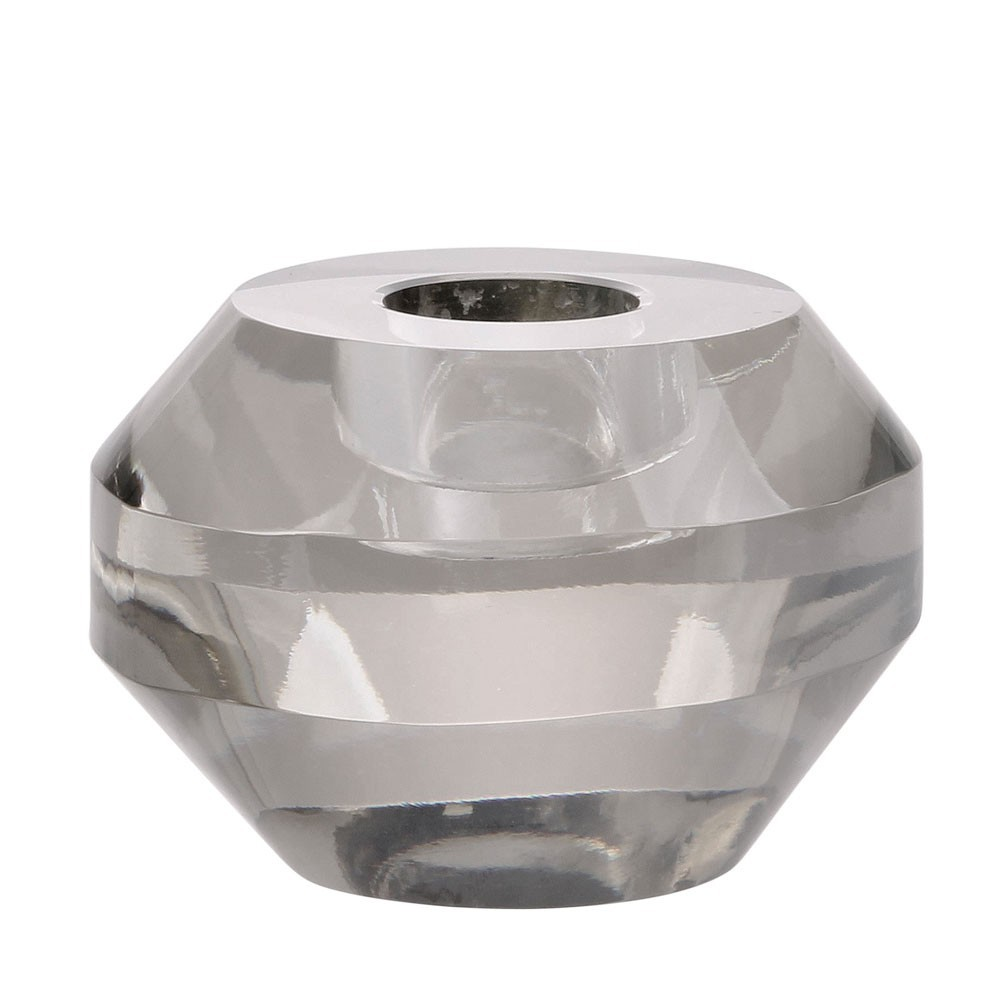 Crystal glass candle holder grey round HKliving