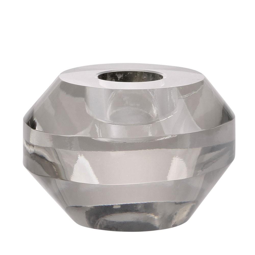 Ronde kandelaar van grijs kristal HKliving