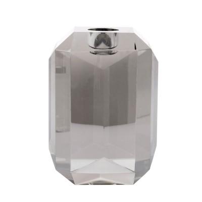 Crystal glass candle holder grey diamond