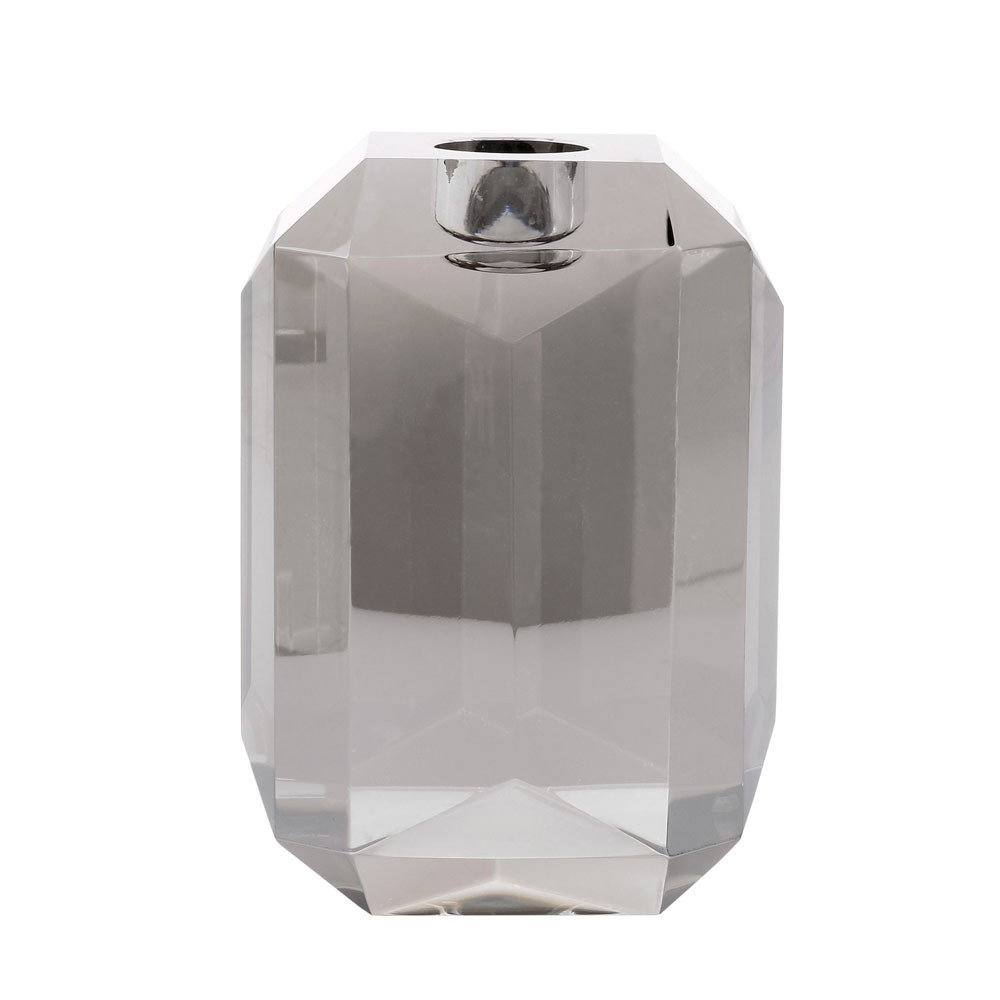 Crystal glass candle holder grey diamond HKliving