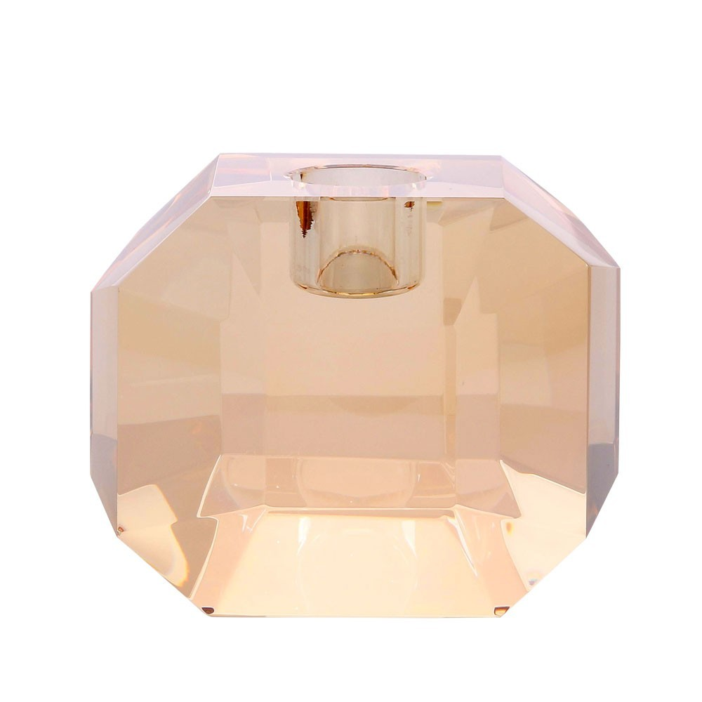 Crystal glass candle holder amber diamond HKliving