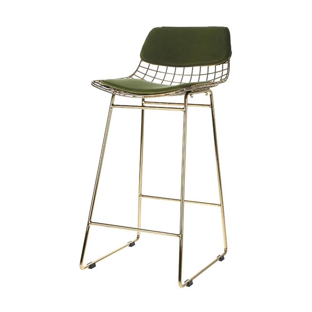 Wire bar stool comfort kit velvet green HKliving