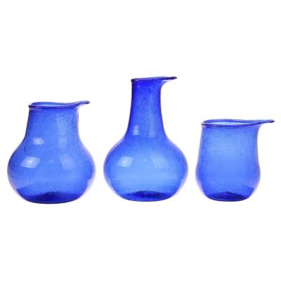 Recycled glass vases cobalt (set of 3) HKliving