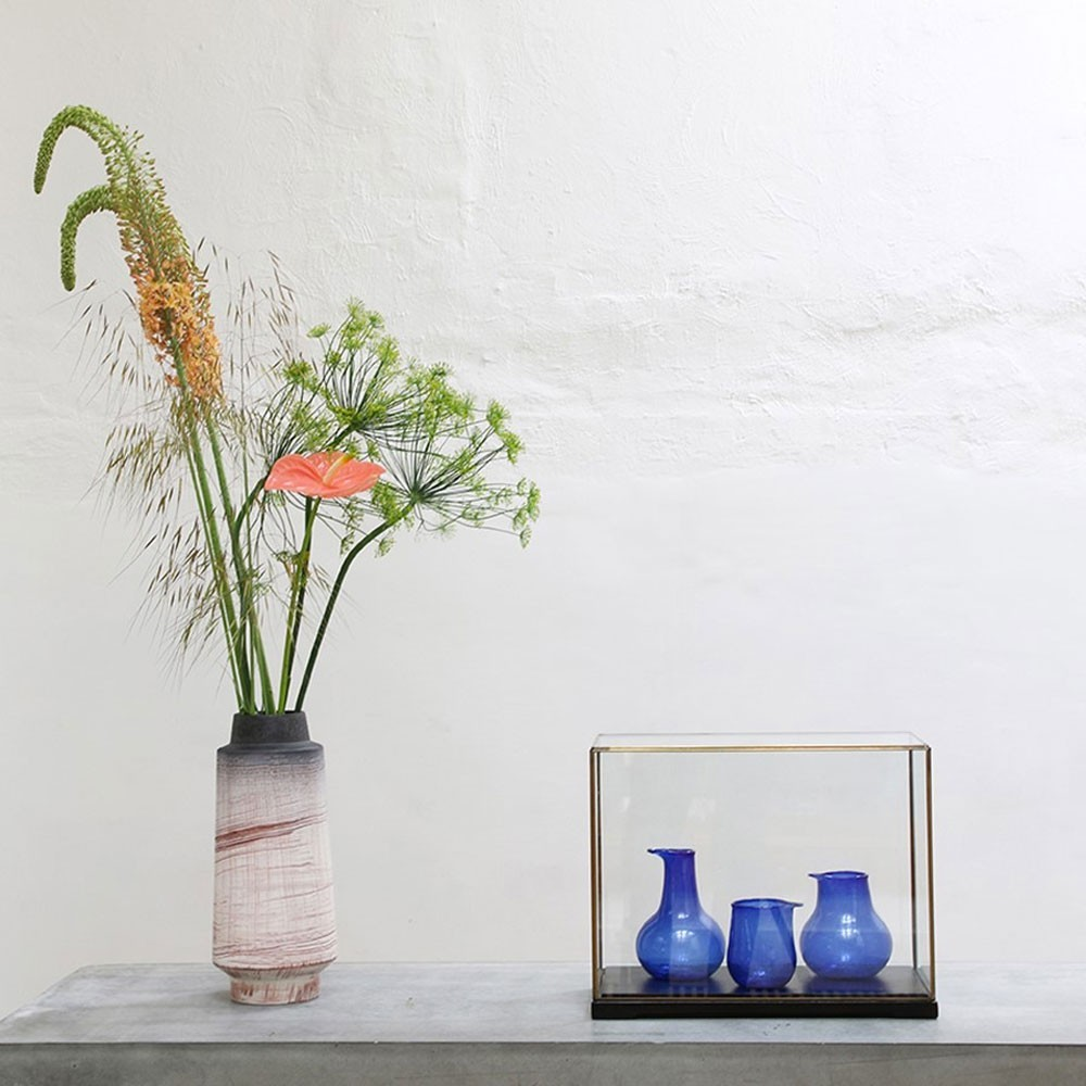 Recycled glass vases cobalt (set of 3) HKliving