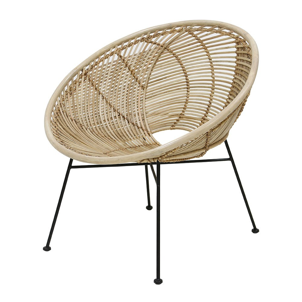 Ball lounge chair natural rattan HKliving