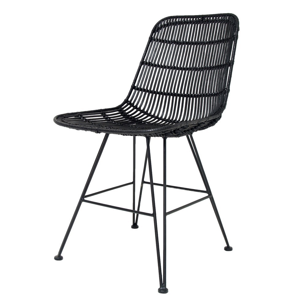 Chaise en rotin noir HKliving