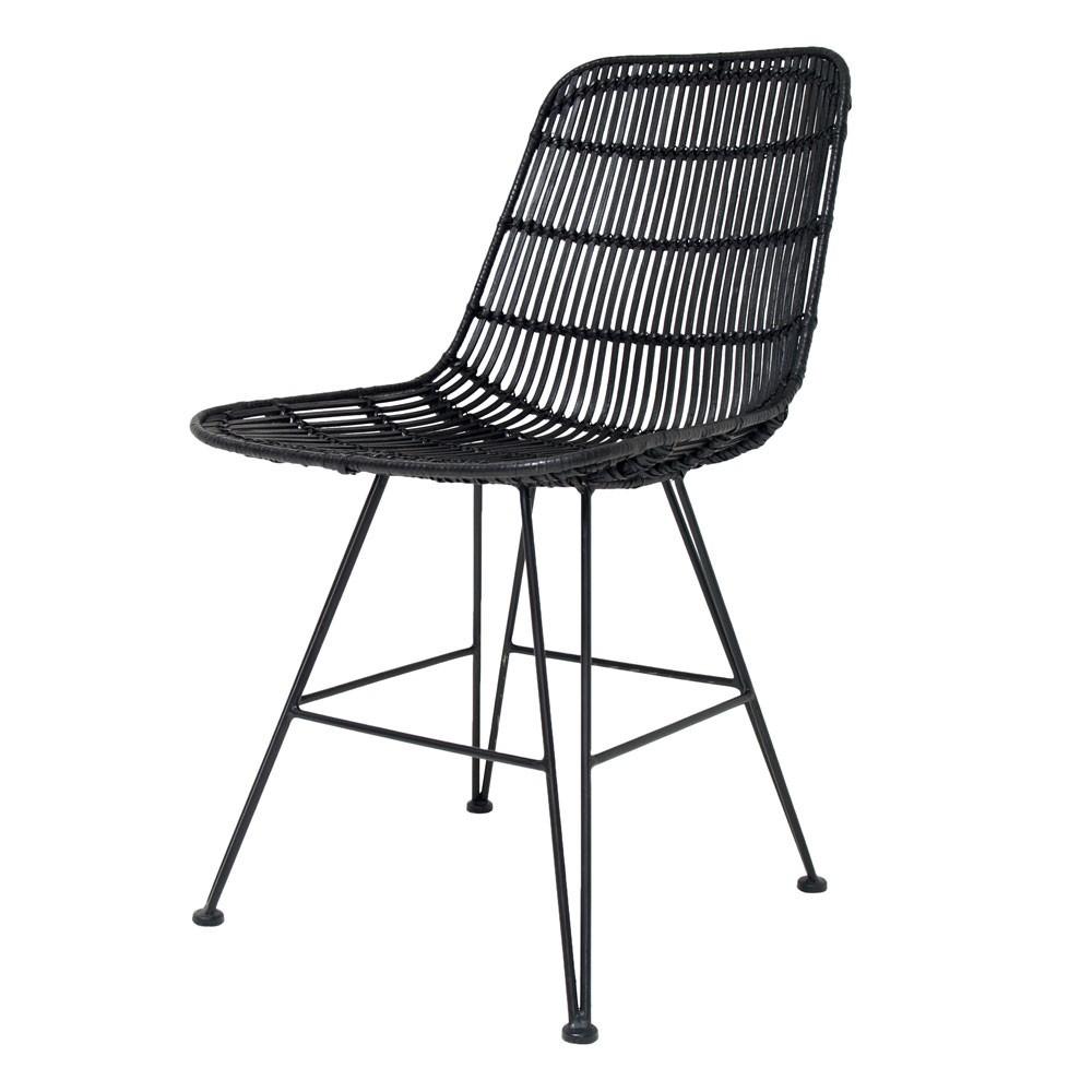 Rattan dining chair black HKliving