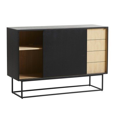 Virka sideboard high black painted oak Woud
