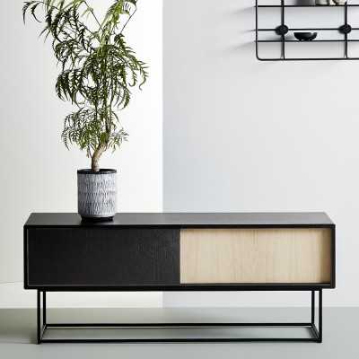 Virka sideboard low black painted oak Woud
