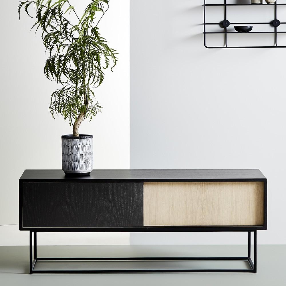 Virka sideboard low black painted oak Woud