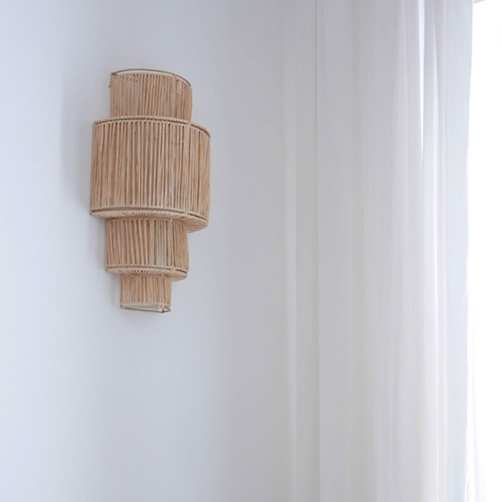 4-laags raffia wandlamp Honoré