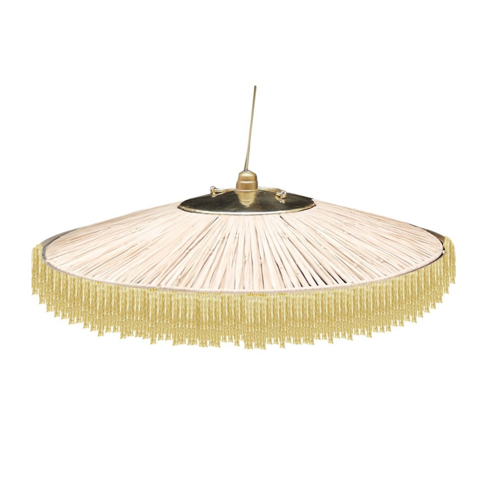 Parasol pendant lamp raffia & golden fringes Honoré