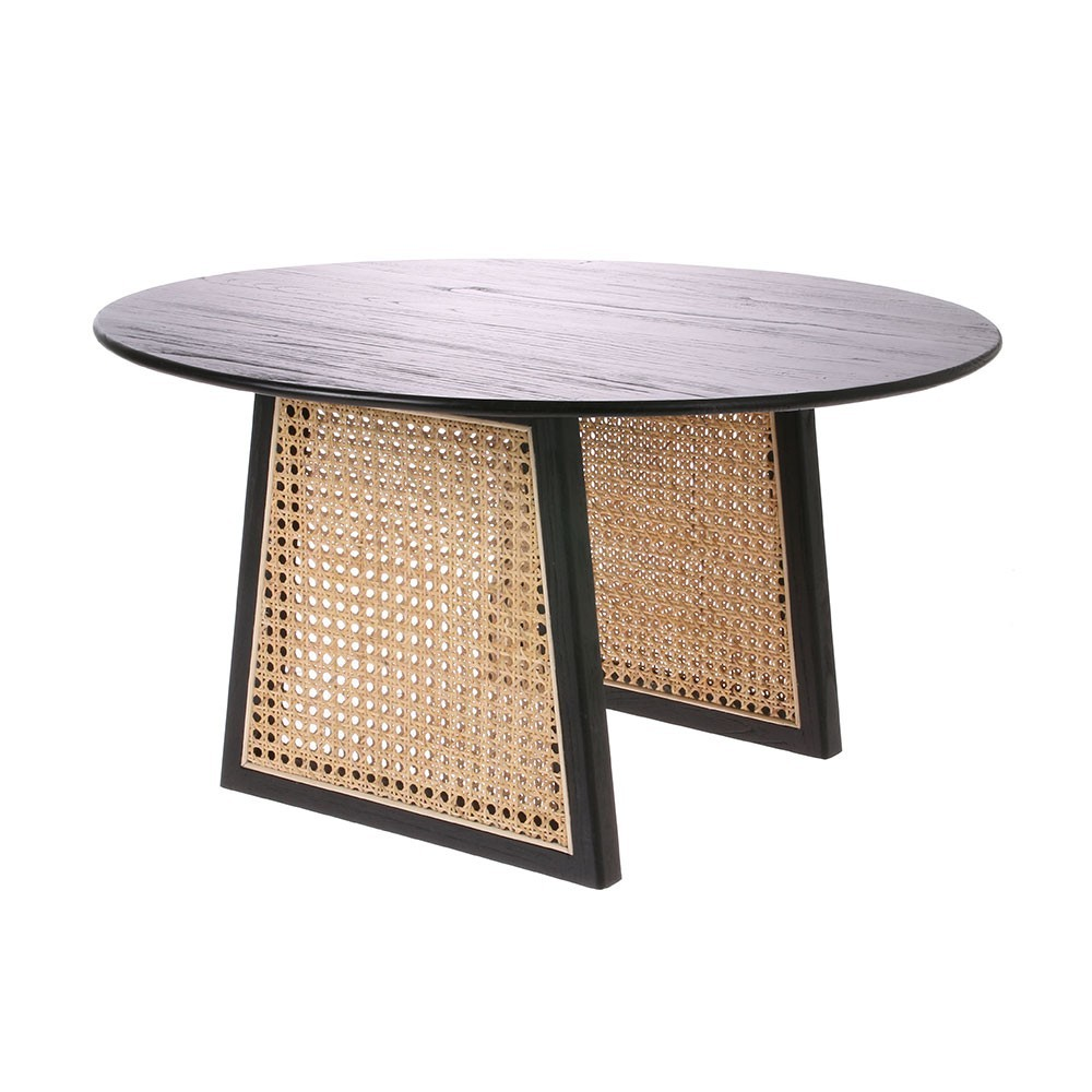 Zwarte salontafel & riet M HKliving