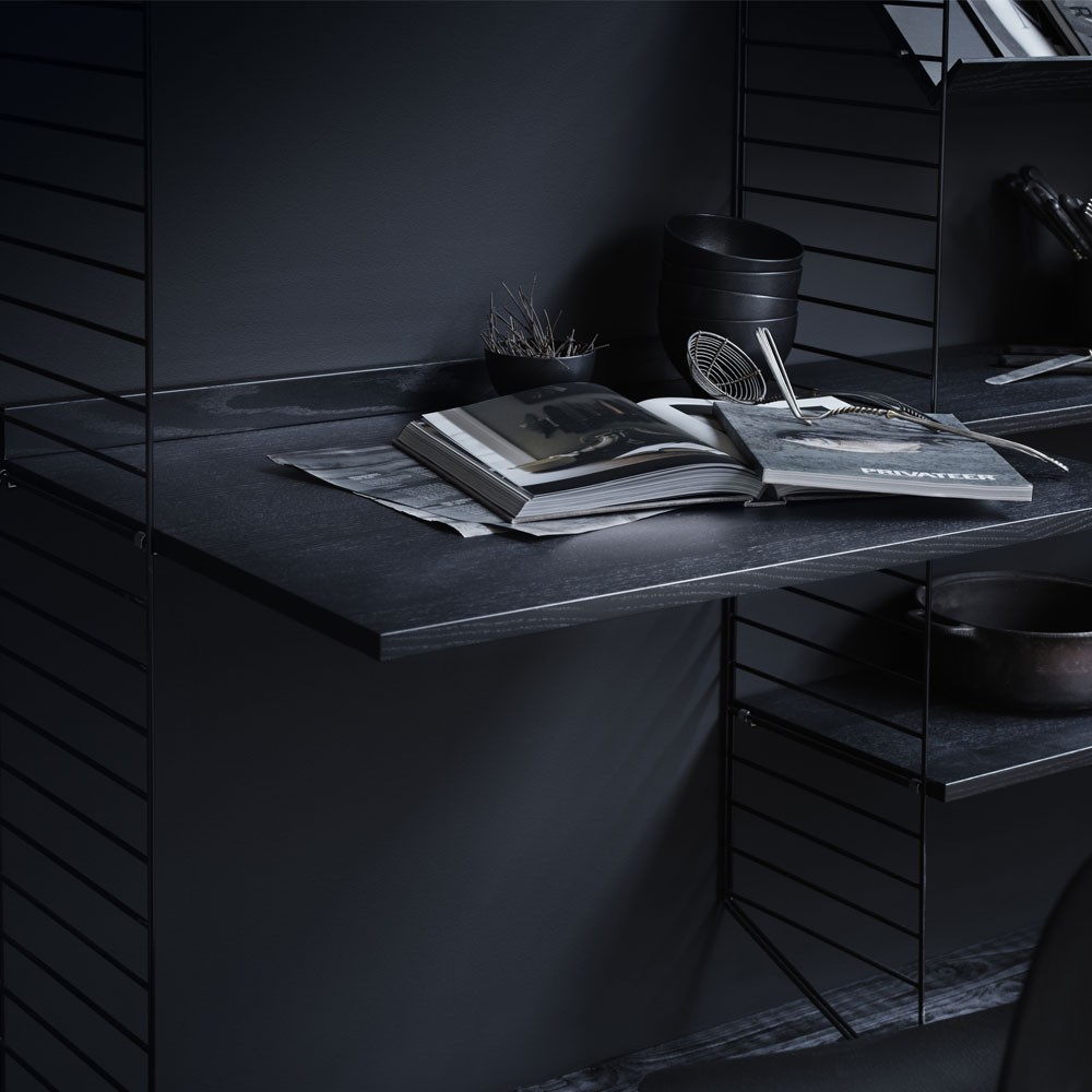 Black stained ash work desk - String system String