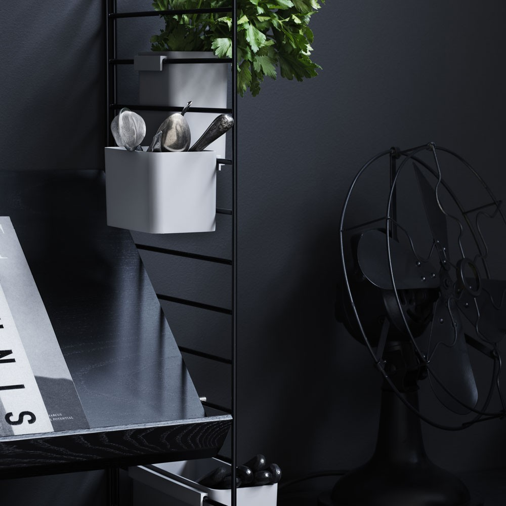 Black stained ash magazine shelf - String system String