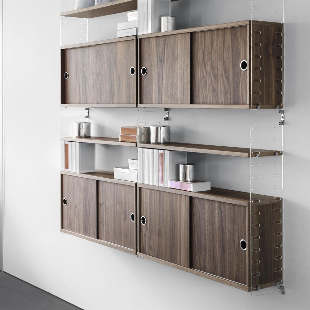Walnut cabinet with sliding doors - String system String