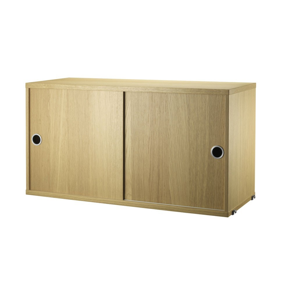 Oak cabinet with sliding doors - String system String