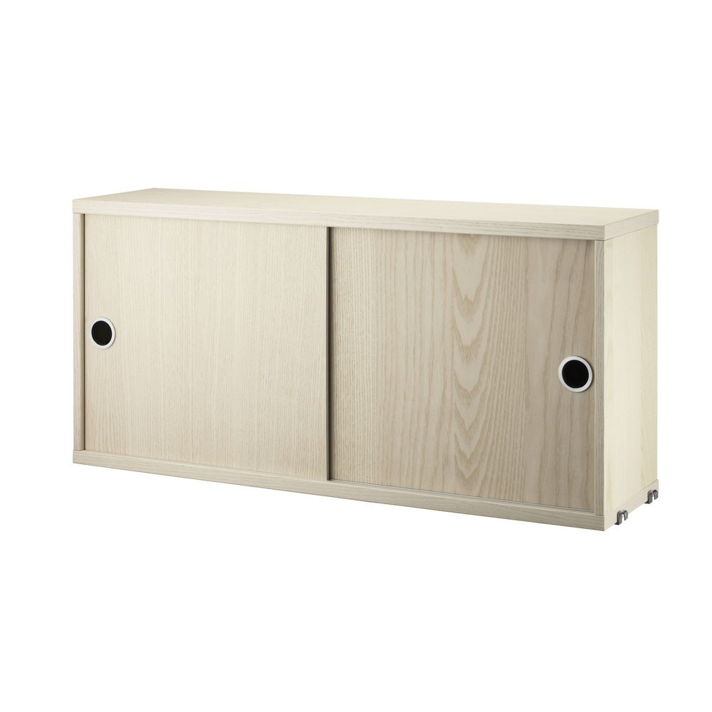 Ash cabinet with sliding doors - String system String