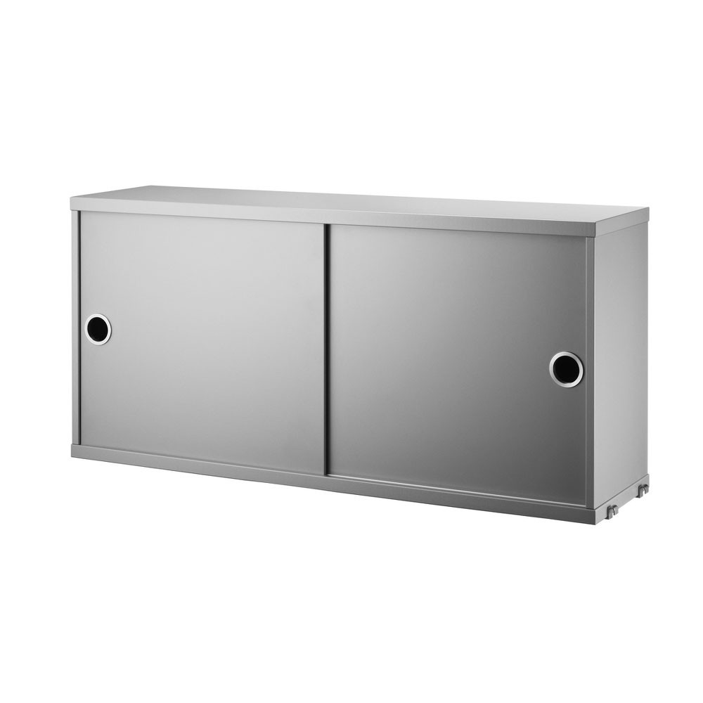 Grey cabinet with sliding doors - String system String