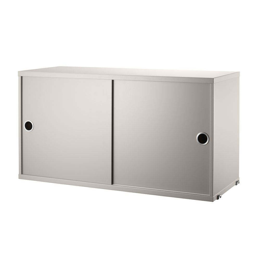 Beige cabinet with sliding doors - String system String
