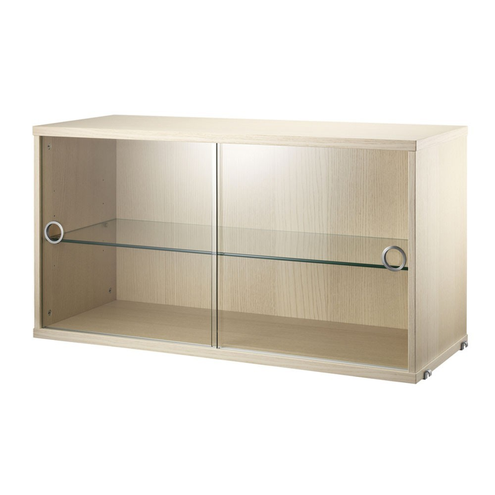 Ash display cabinet with sliding glass doors - String system String