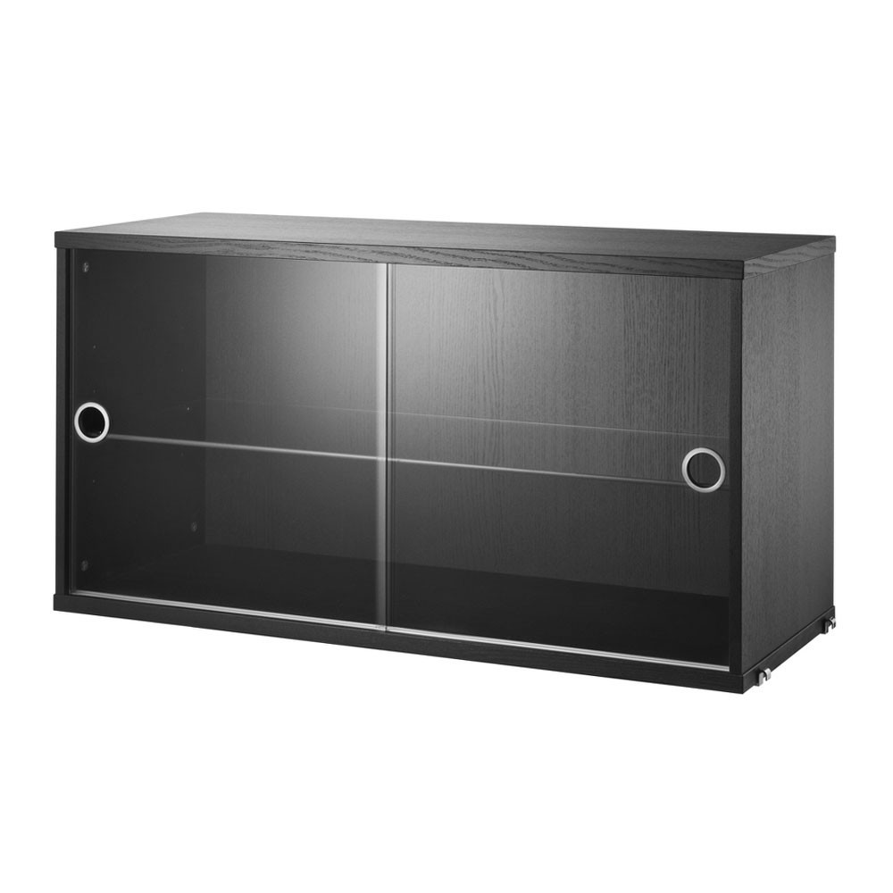 Black stained ash display cabinet with sliding glass doors - String system String