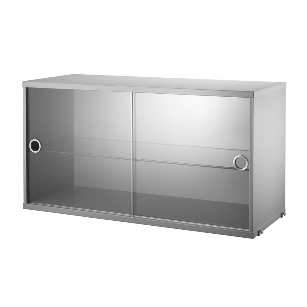 Grey display cabinet with sliding glass doors - String system String