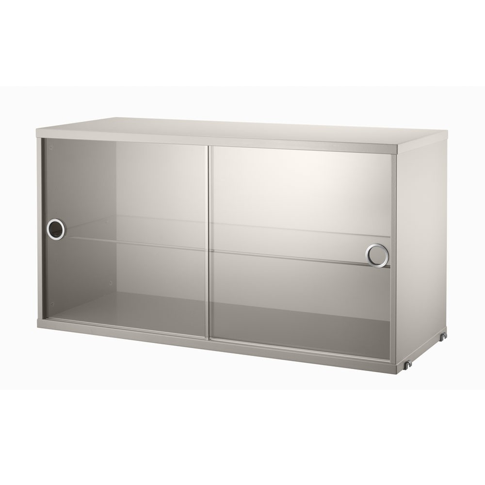 Beige display cabinet with sliding glass doors - String system String