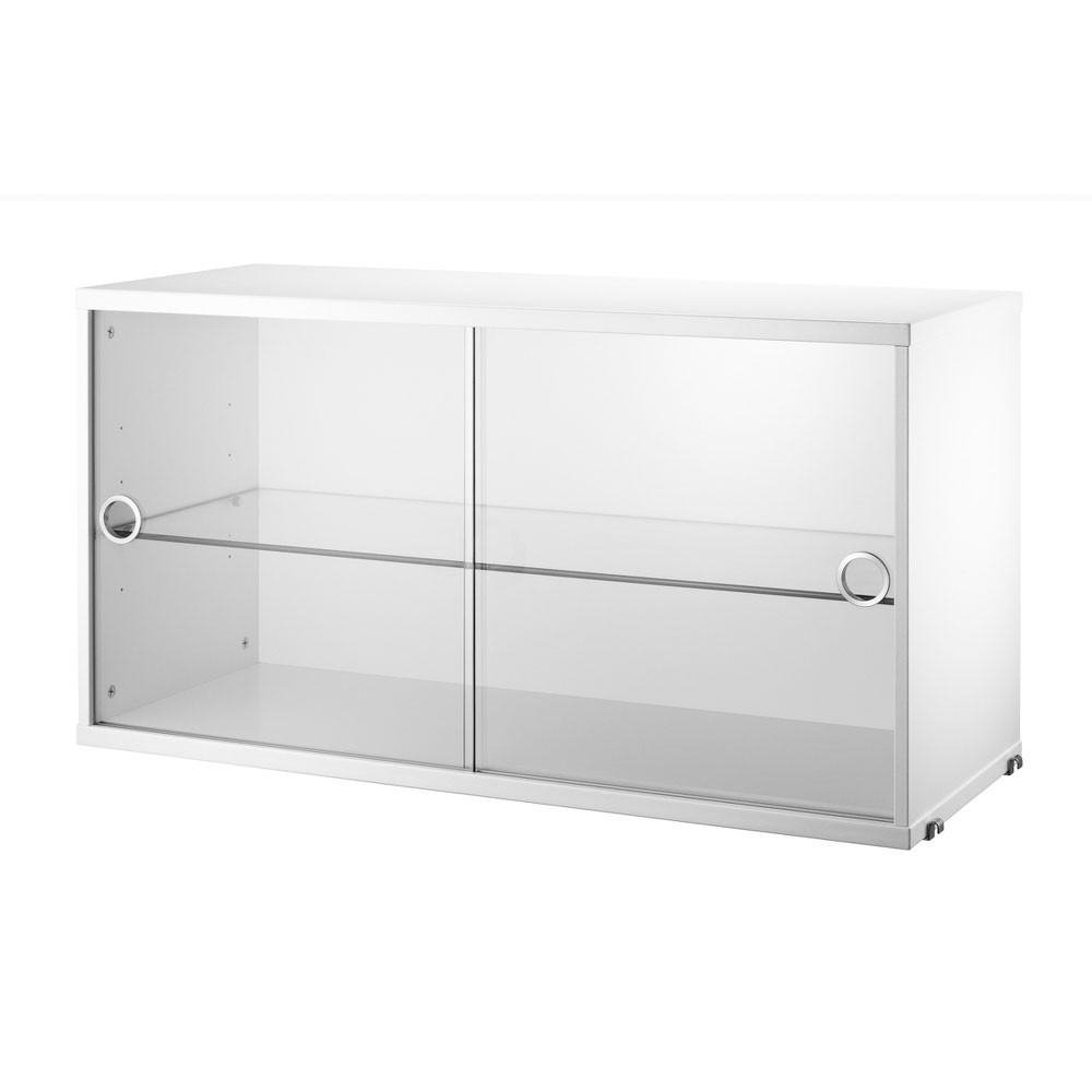 Vitrine blanche avec portes coulissantes en verre - Système String String Furniture
