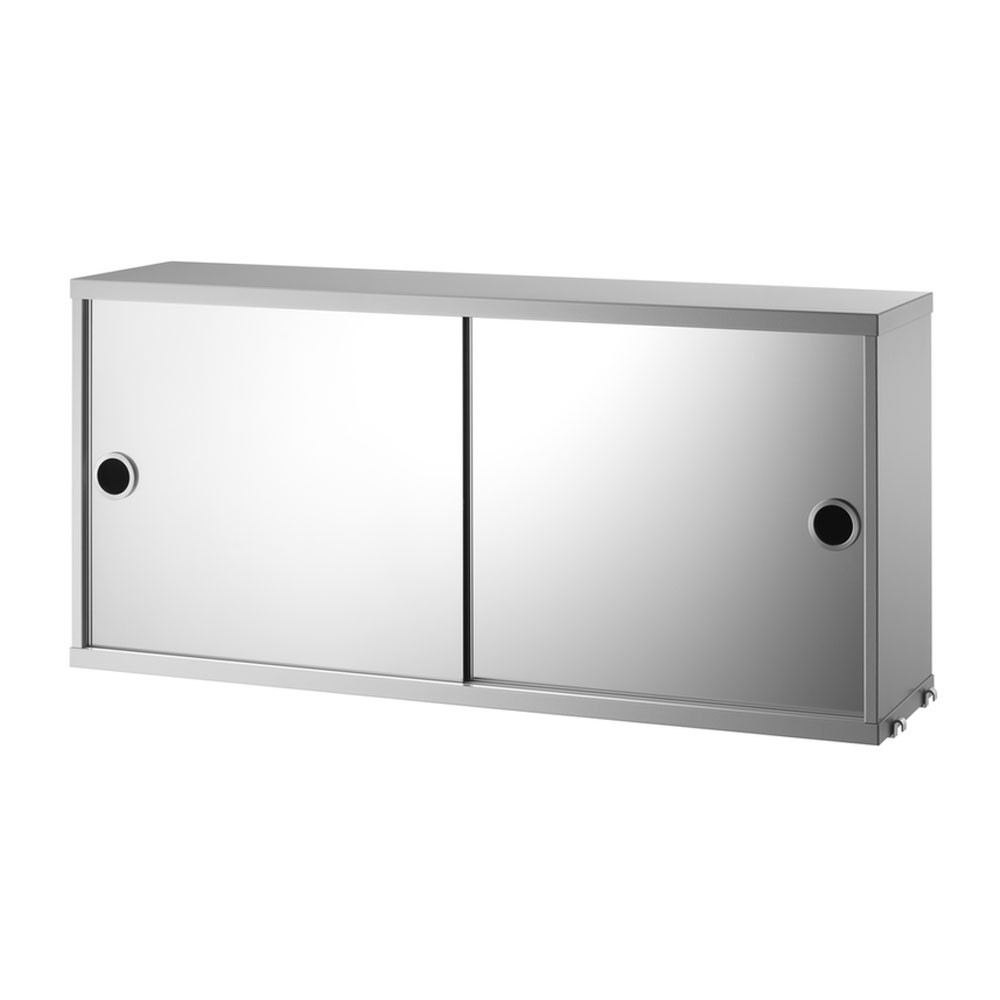 Grey cabinet with sliding mirror doors - String system String