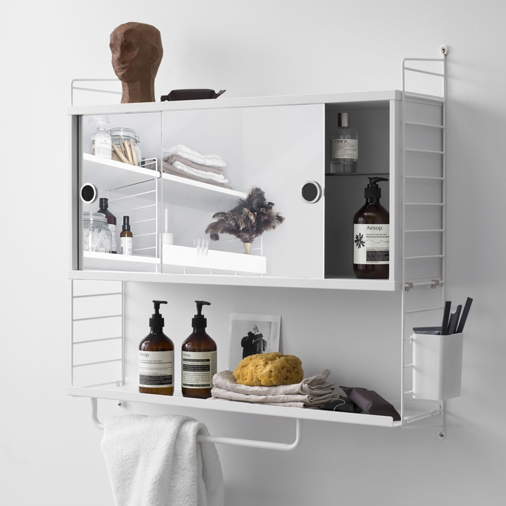 White cabinet with sliding mirror doors - String system String