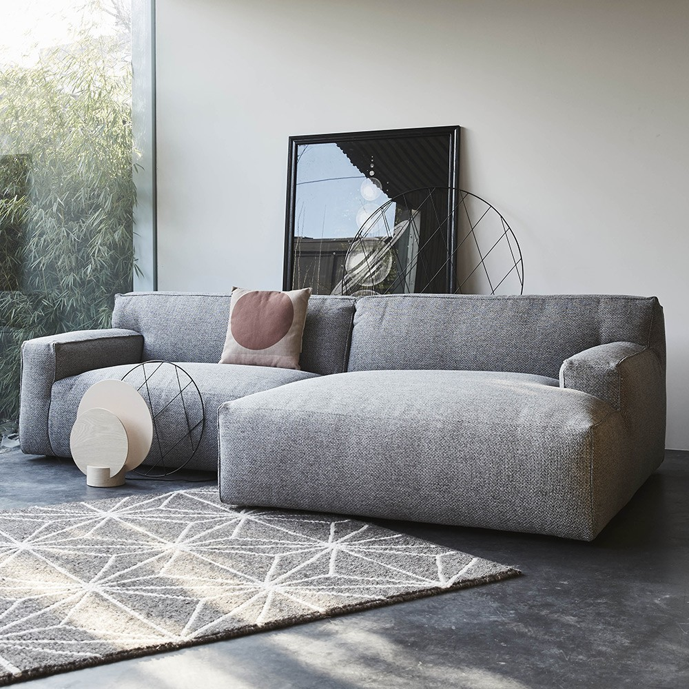 Clay sofa 3 seaters with longchair Sydney 91 Grey Fést