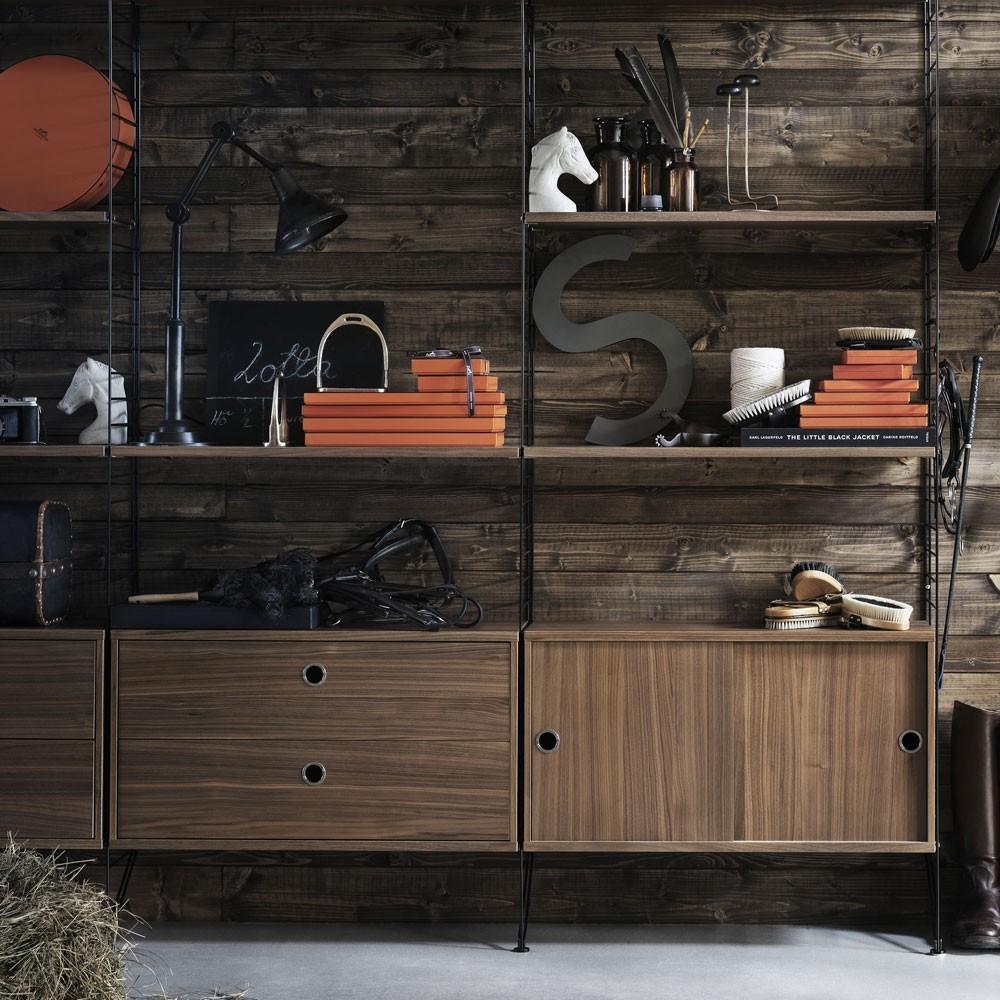 Commode avec tiroirs noyer - Système String String Furniture