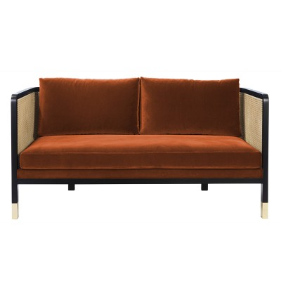 Wicker sofa 2 seaters velvet Fox Red Edition