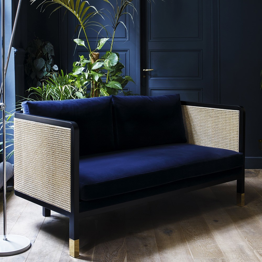 Wicker sofa 2 seaters velvet Navy blue Red Edition