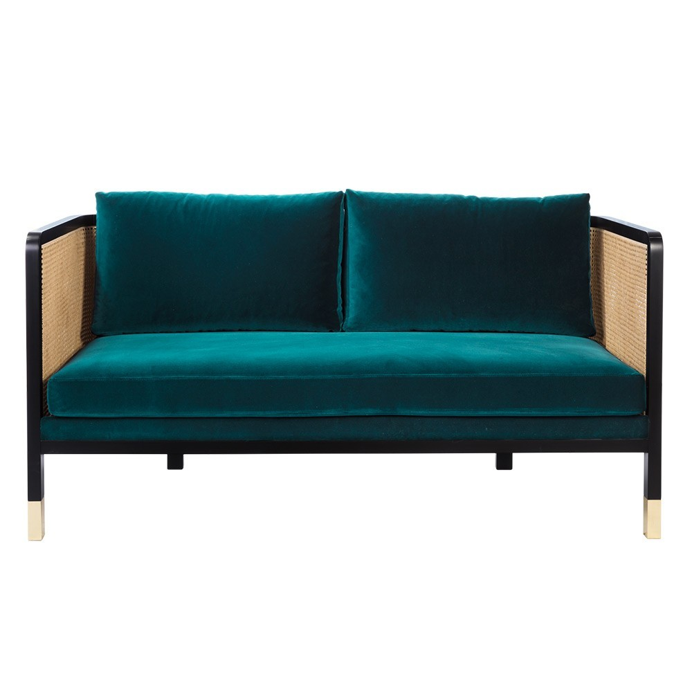 Wicker sofa 2 seaters velvet Peacock blue Red Edition