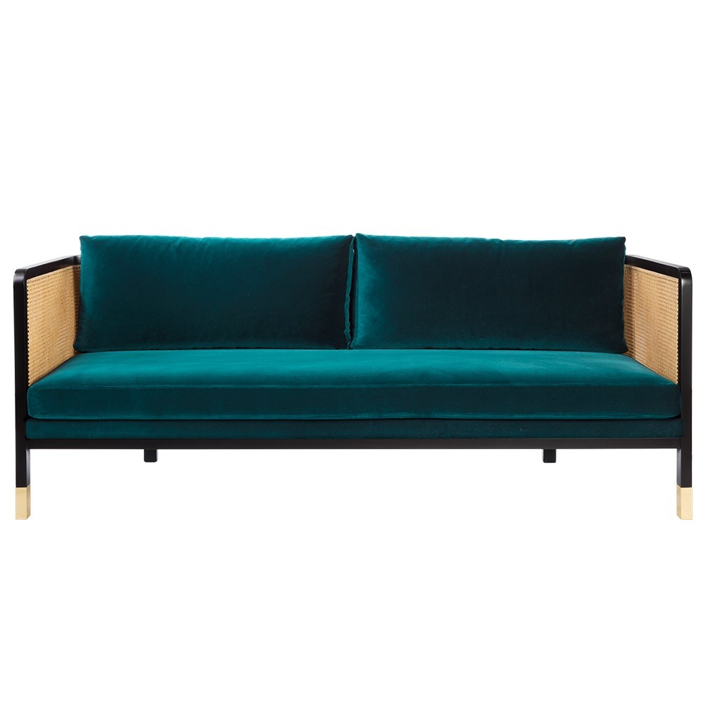 Wicker sofa 3 seaters velvet Peacock blue Red Edition
