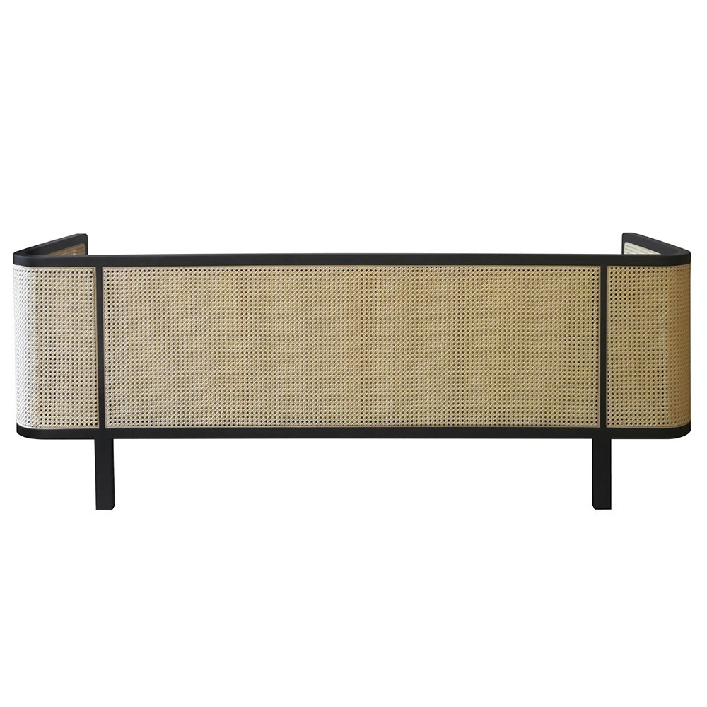 Wicker sofa 3 seaters velvet Navy blue Red Edition
