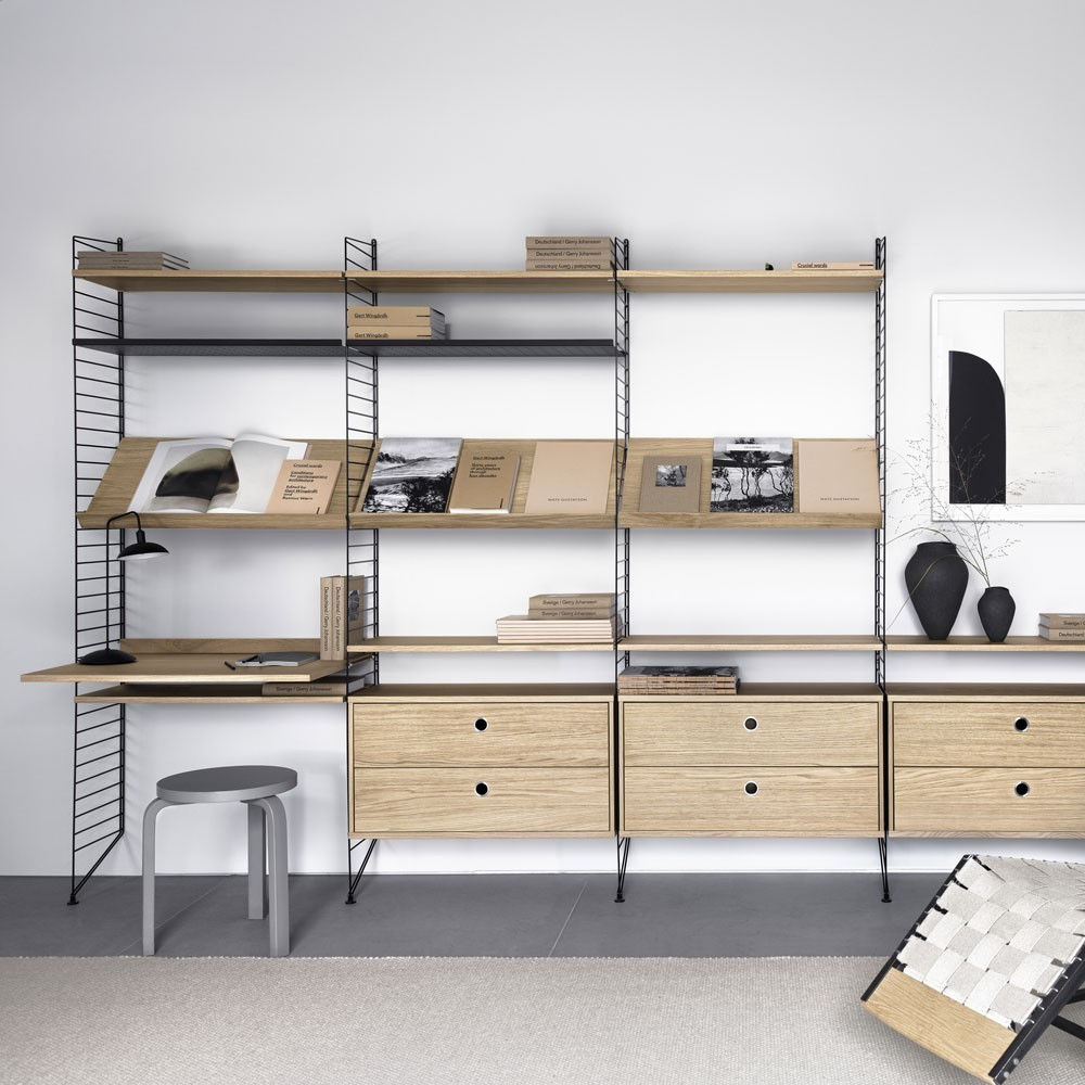 Oak chest with drawers - String system String