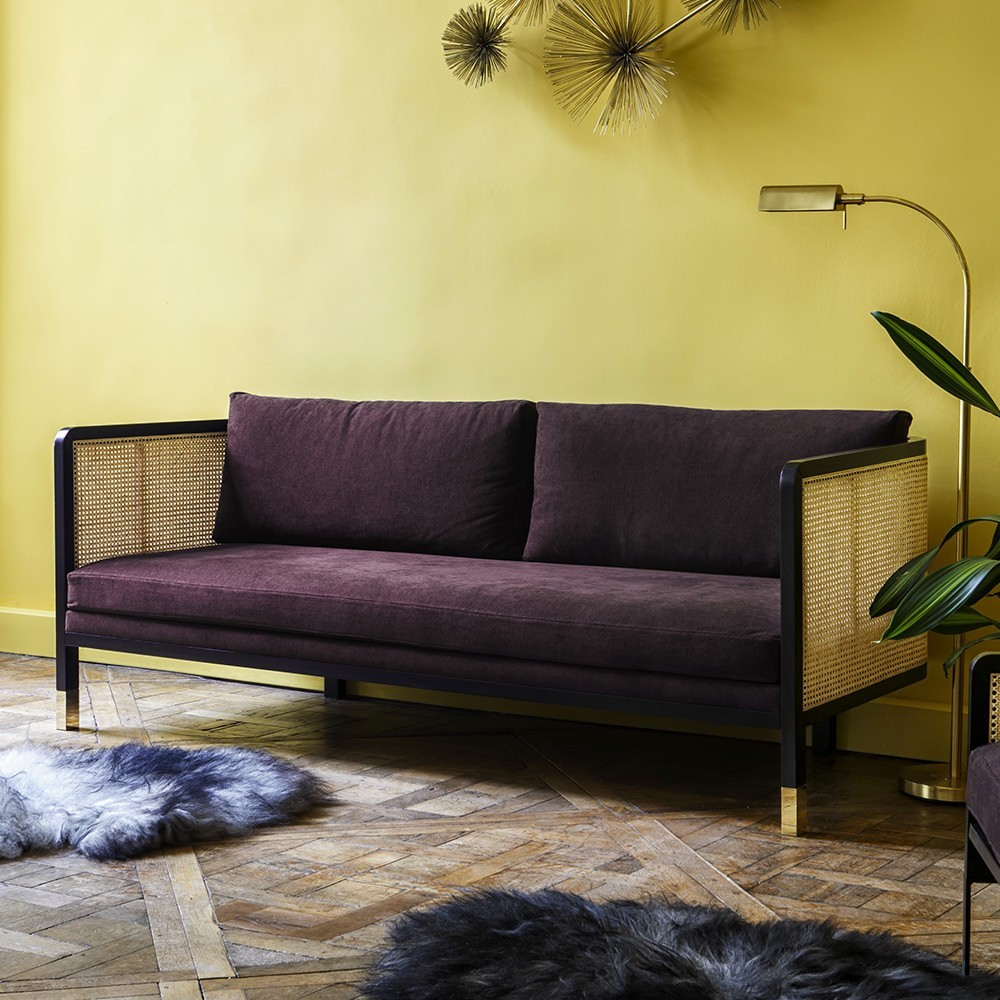 Wicker sofa 3 seaters cotton Plum Red Edition