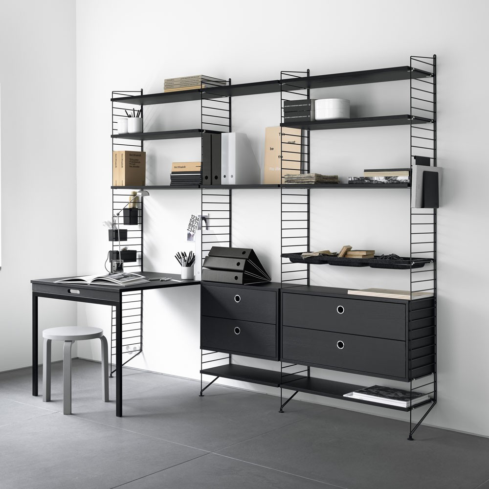 Black stained ash chest of drawers - String system String