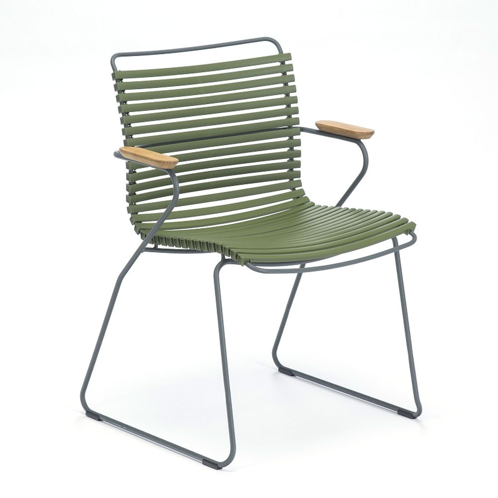 Click dining chair olive green with bamboo armrests Houe