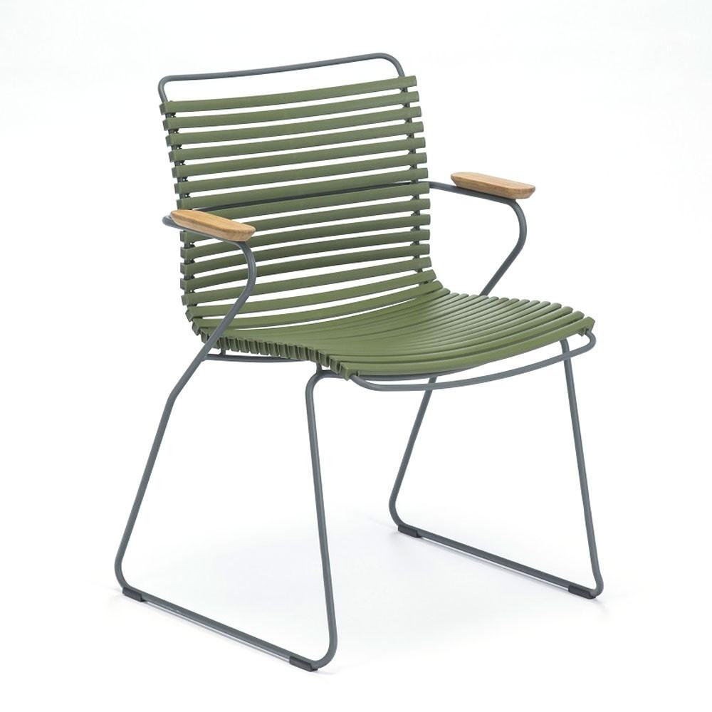 Click stoel olijf met bamboe armleuningen Houe