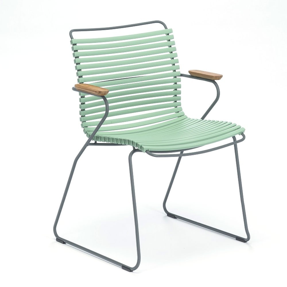 Click dining chair dusty green with bamboo armrests Houe