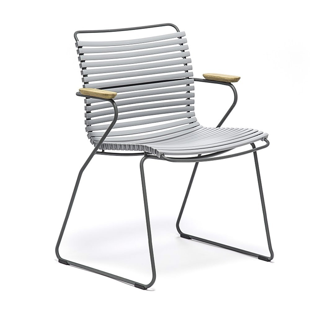 Click dining chair gray with bamboo armrests Houe