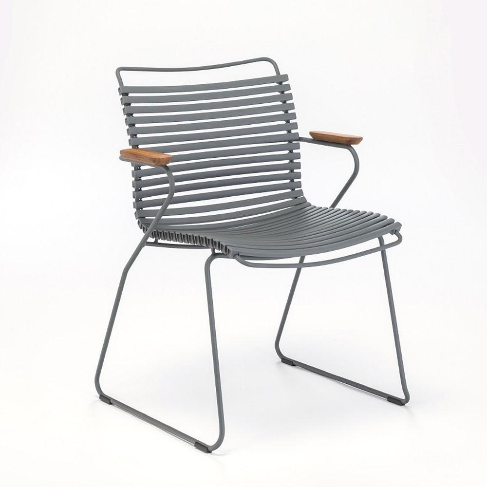 Chaise Click gris foncé avec accoudoirs bambou Houe