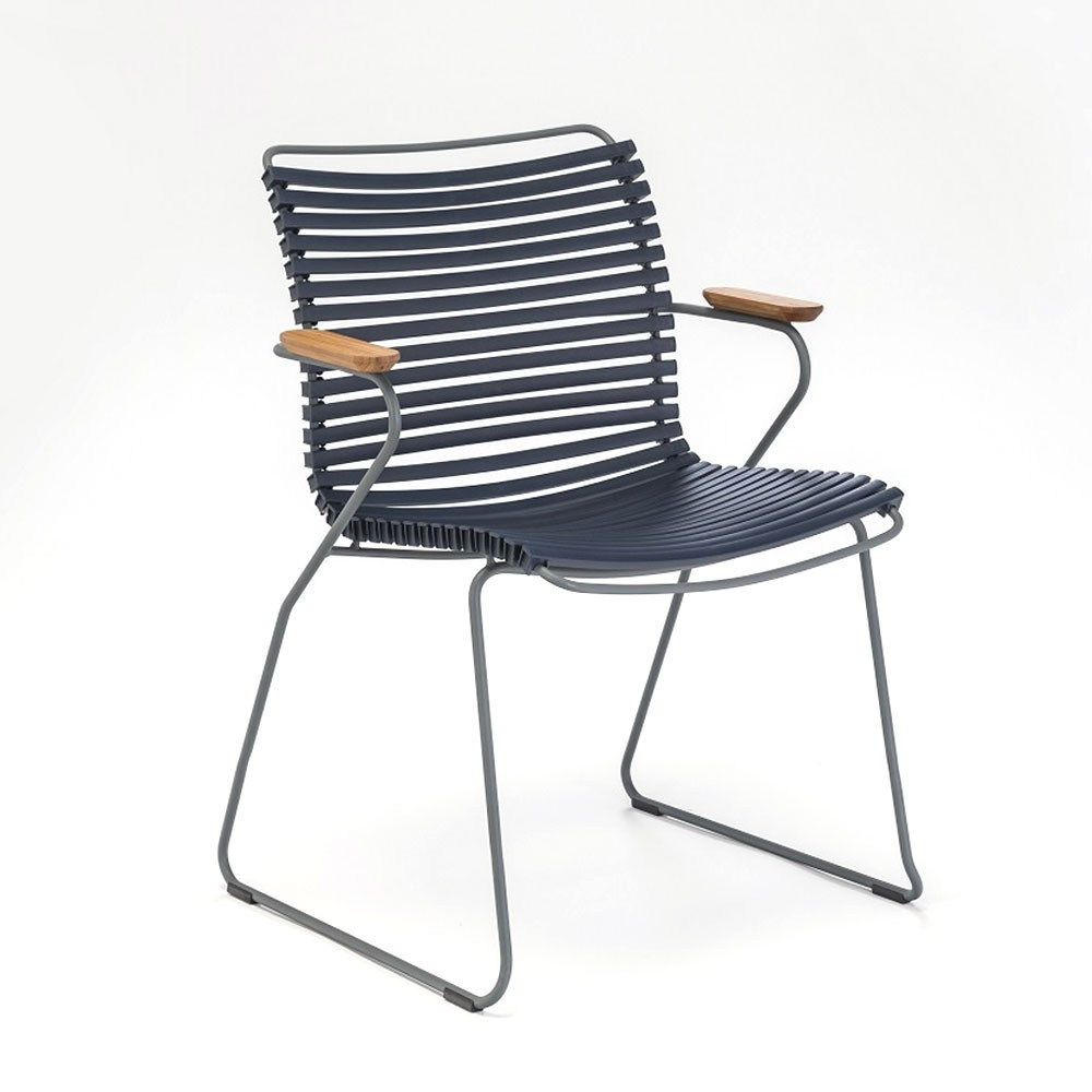 Click dining chair dark blue with bamboo armrests Houe