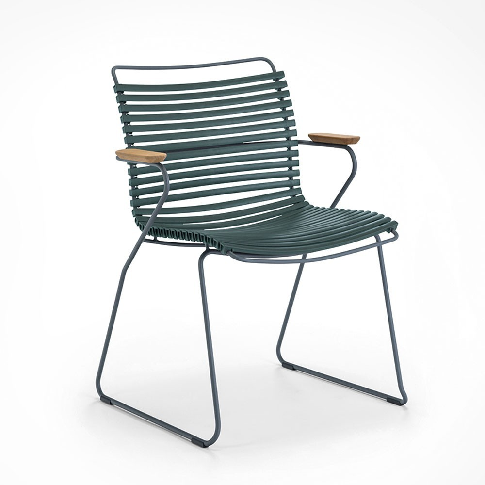 Click dining chair pine green with bamboo armrests Houe